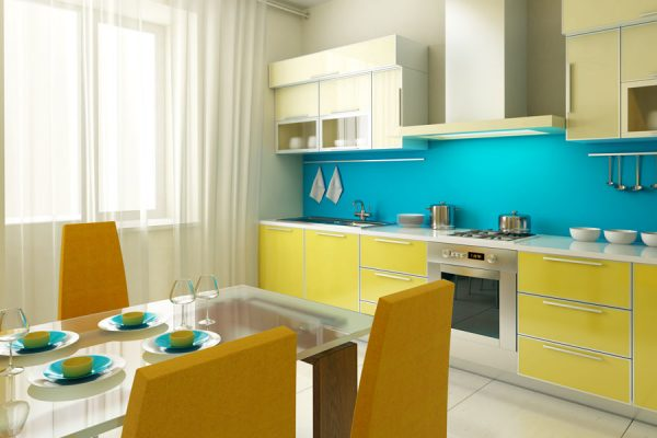 Attractive Yellow Straight Modular Kitchen Cabinet