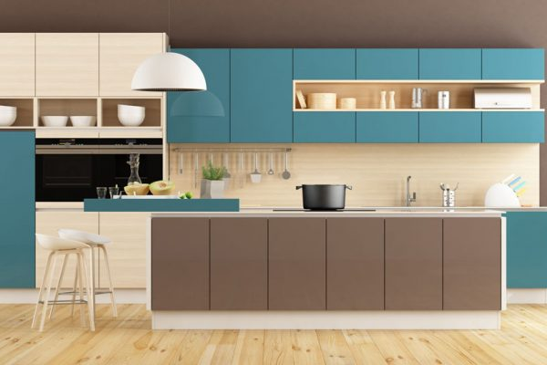 Blue Brown Gray Straight Island Kitchen