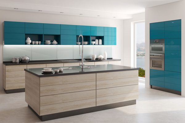 Blue Glossy Island Kitchen With Brown Laminate