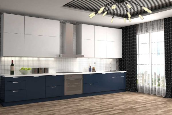 Blue White Straight Line Kitchen