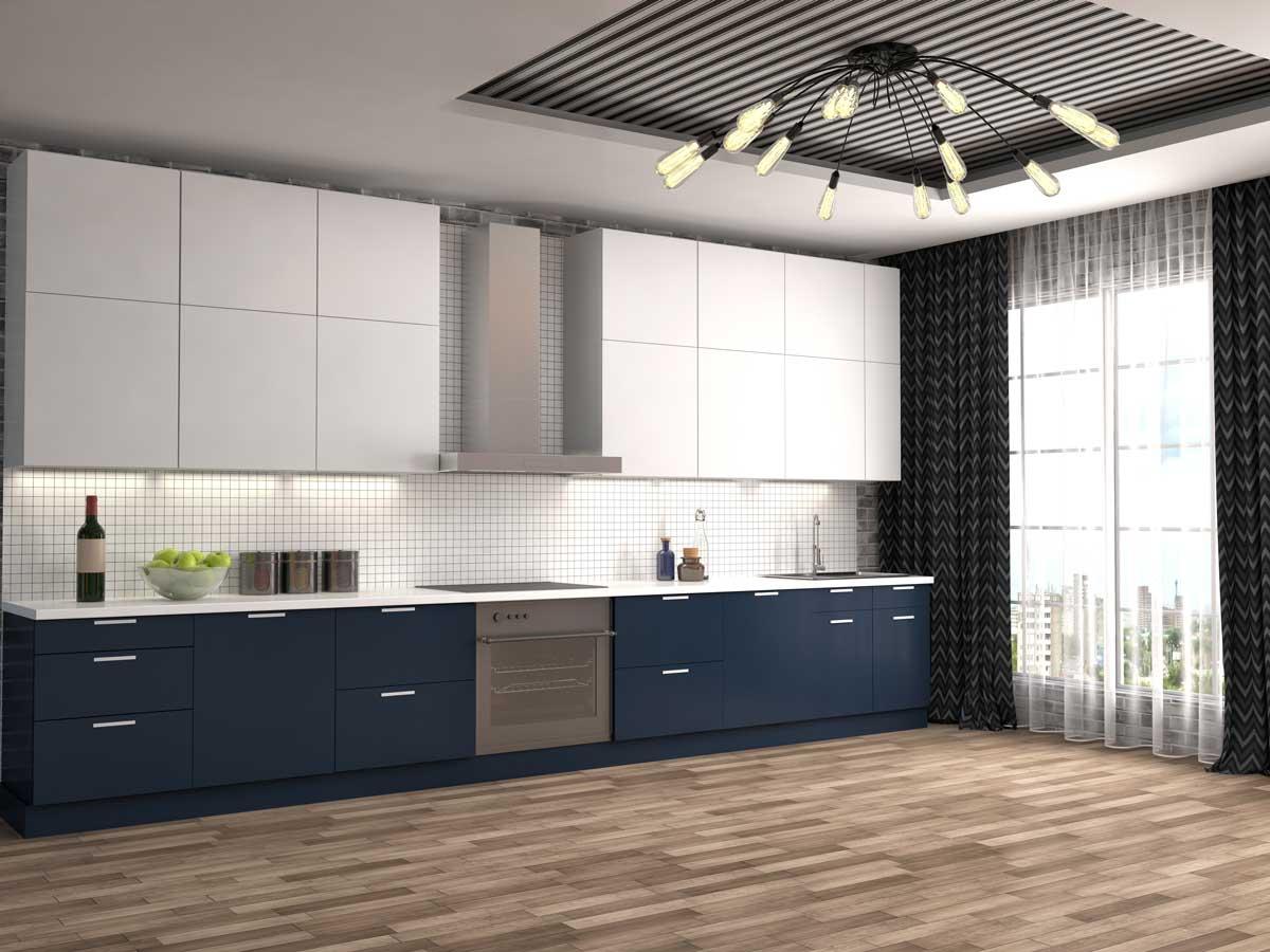 Blue White Straight Line Kitchen