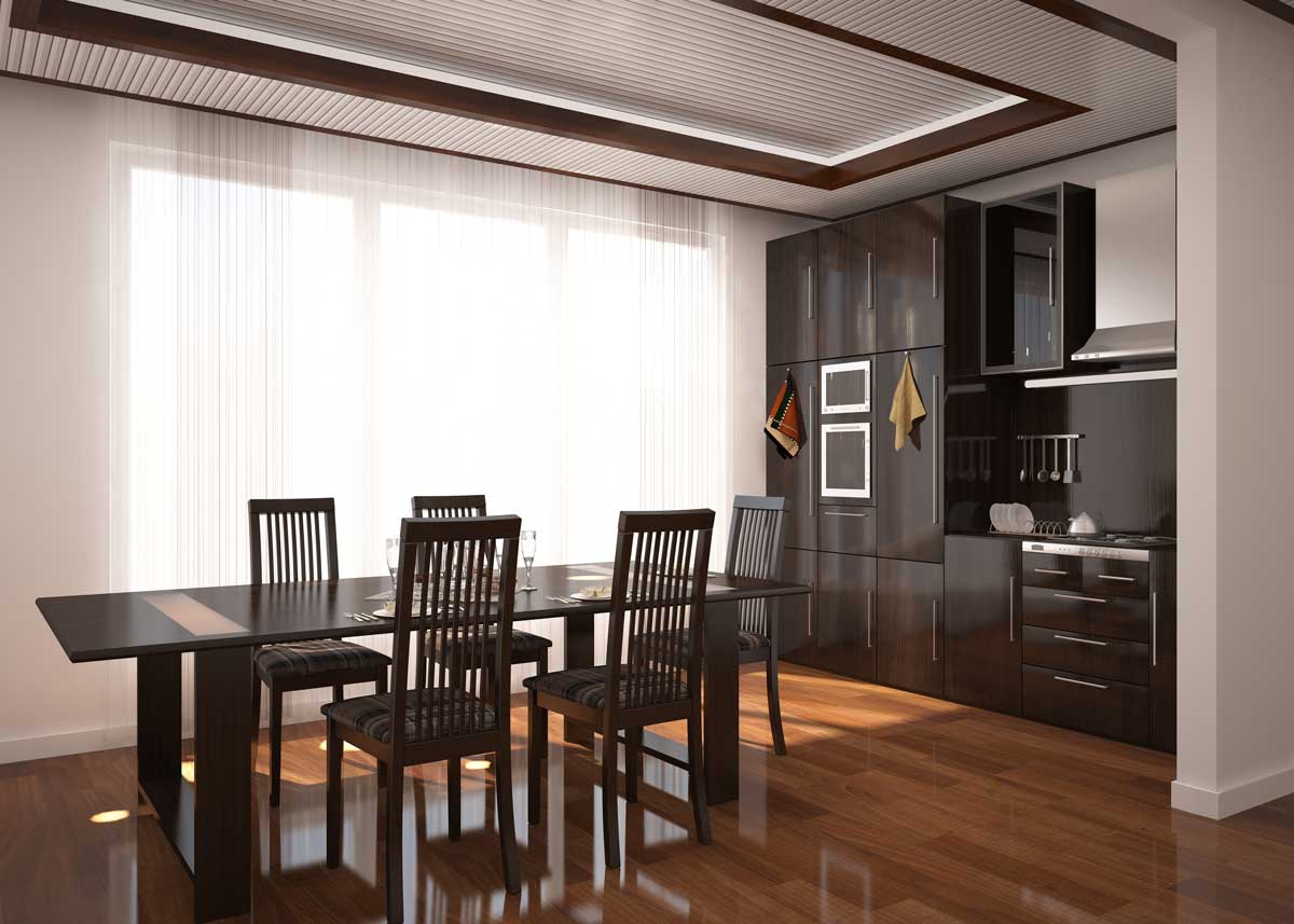 Brown Gloss Straight Modular Kitchen With Dining Space