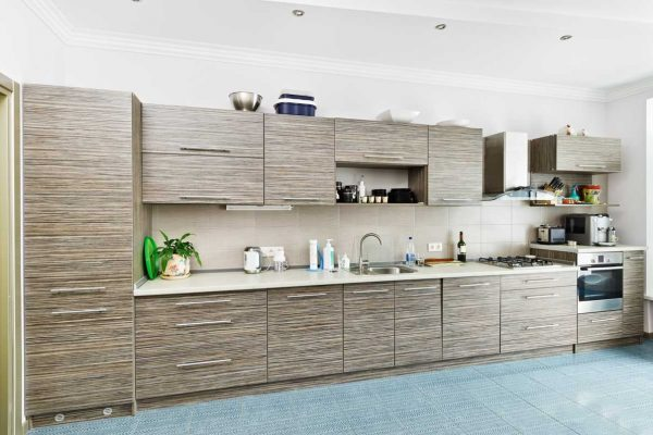 Brown Gray Straight Kitchen Cabinet