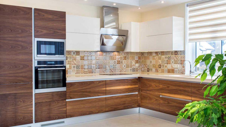 Brown L Shape Modern Kitchen Cabinet