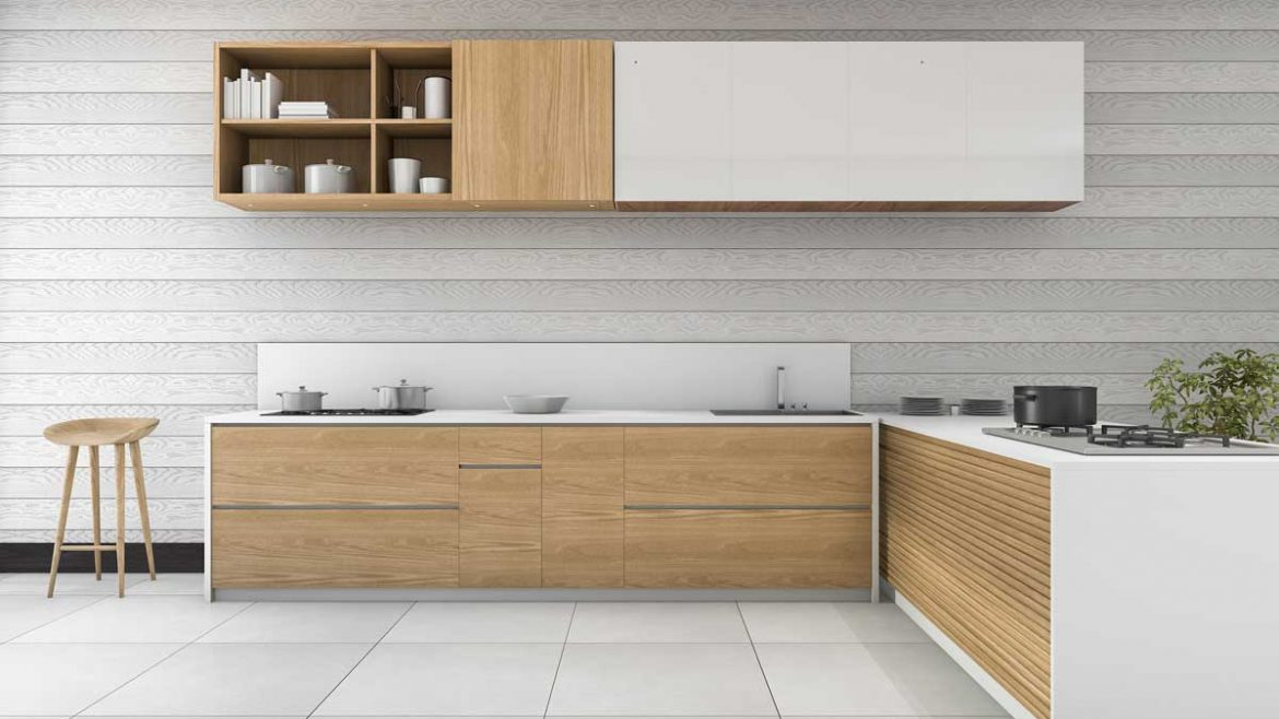 Brown L Shape Ultra Modern Kitchen