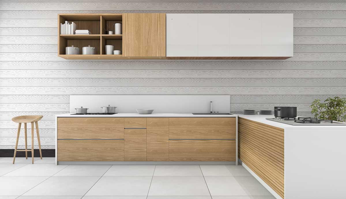 Brown L Shape Ultra Modern Kitchen