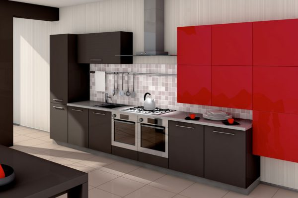 Brown Red Straight Line Modular Kitchen