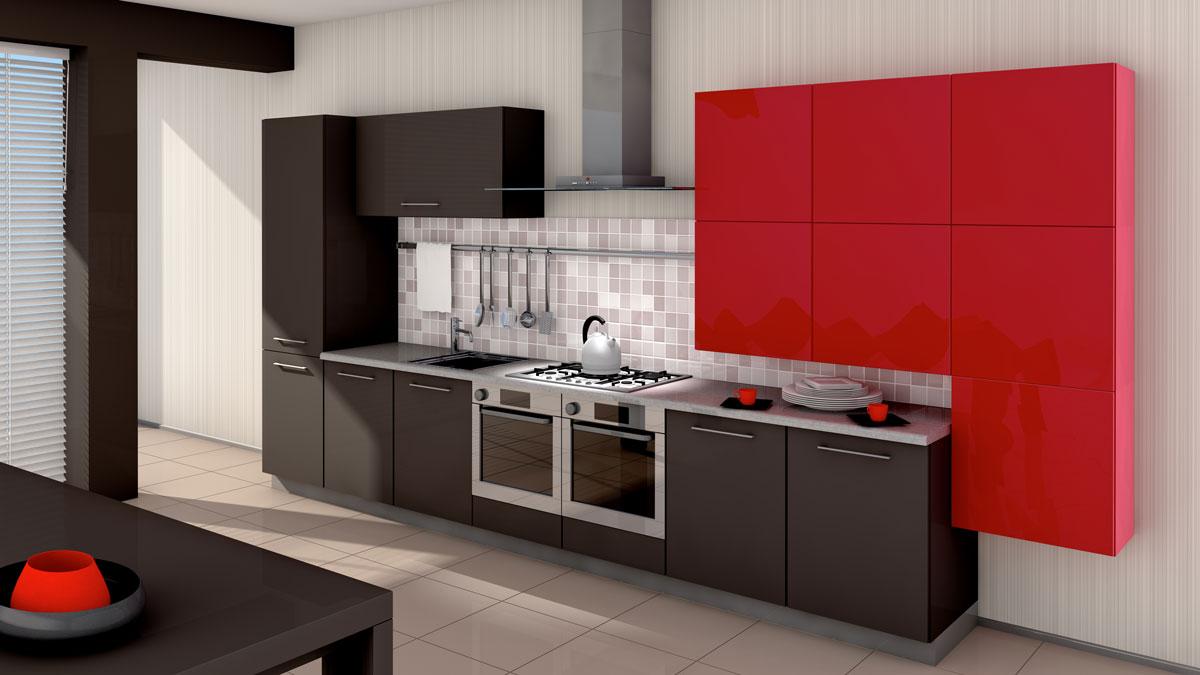 Brown Red Straight Line Modular Kitchen