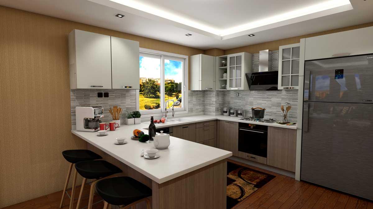 Brown U Shape Modern Kitchen With Appliances