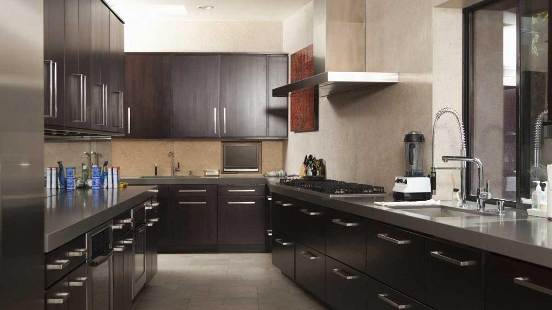 Brown U Shape Modular Kitchen With Appliances