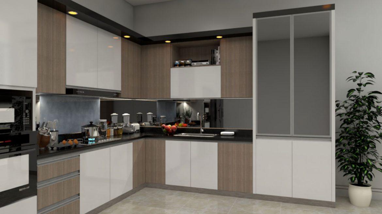 Brown White L Shape Modular Kitchen