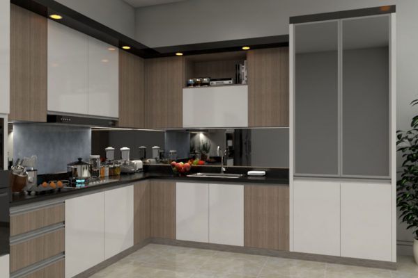 Brown White L Shape Modular Kitchen