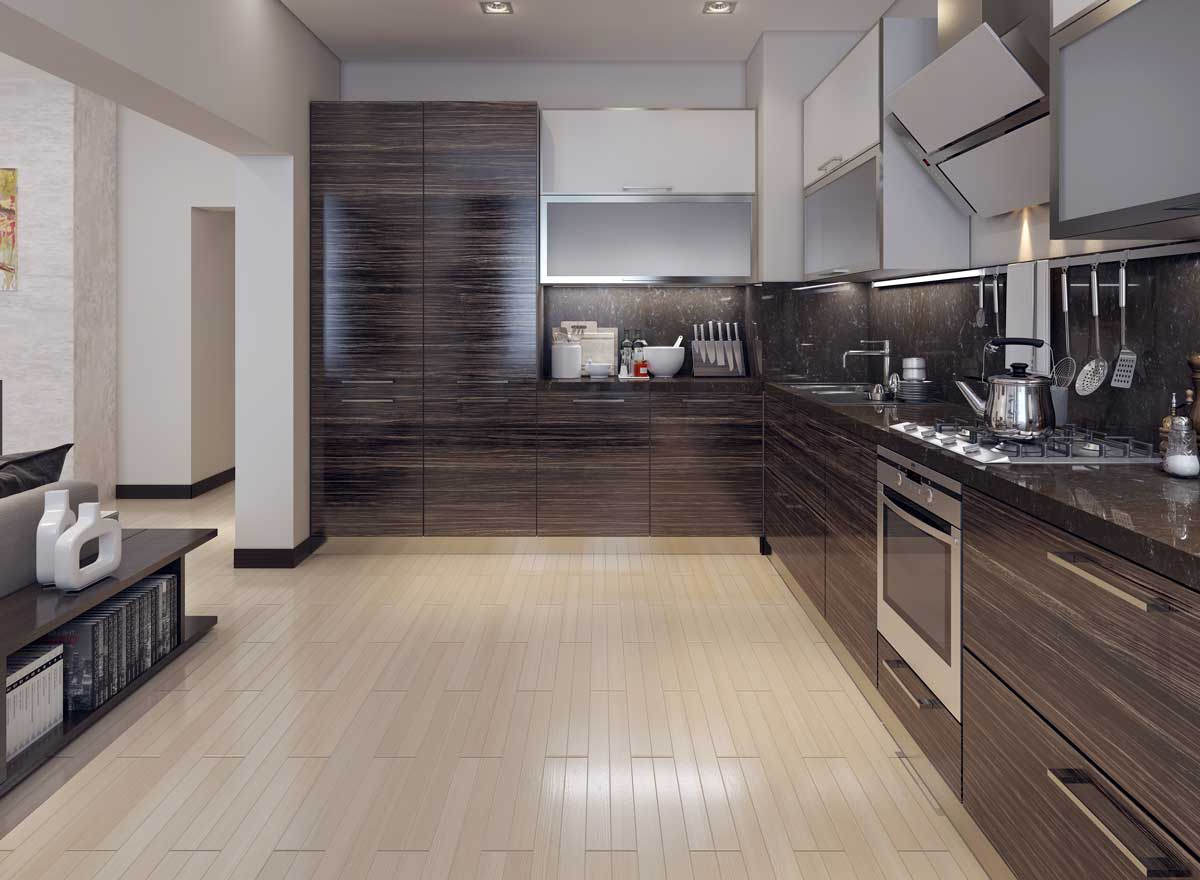 Brown Wood Style L Shape Modular Kitchen