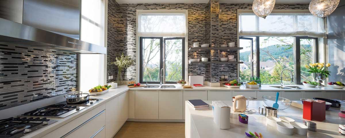 Classic White L Shaped Island Kitchen