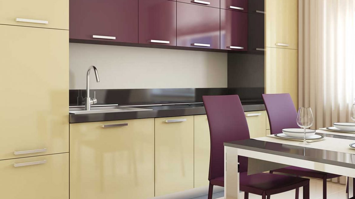 Colorful Straight Modular Kitchen