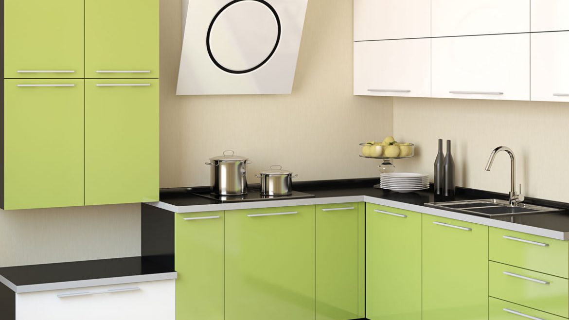 Compact L Shape Lime Green White Modular Kitchen