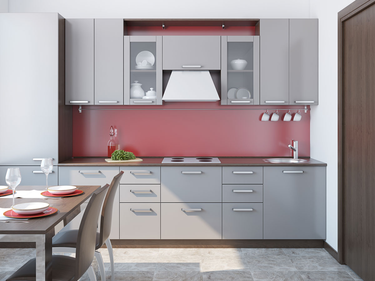 Compact Space Saving Gray Straight Modular Kitchen