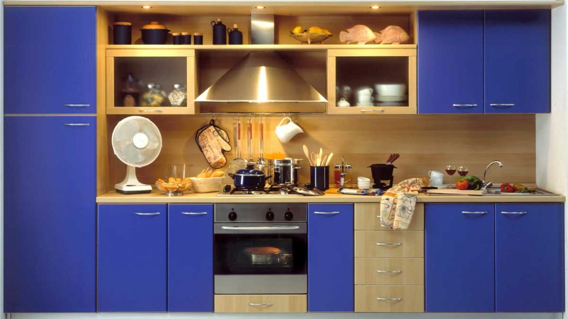 Cool Blue Straight Modular Kitchen