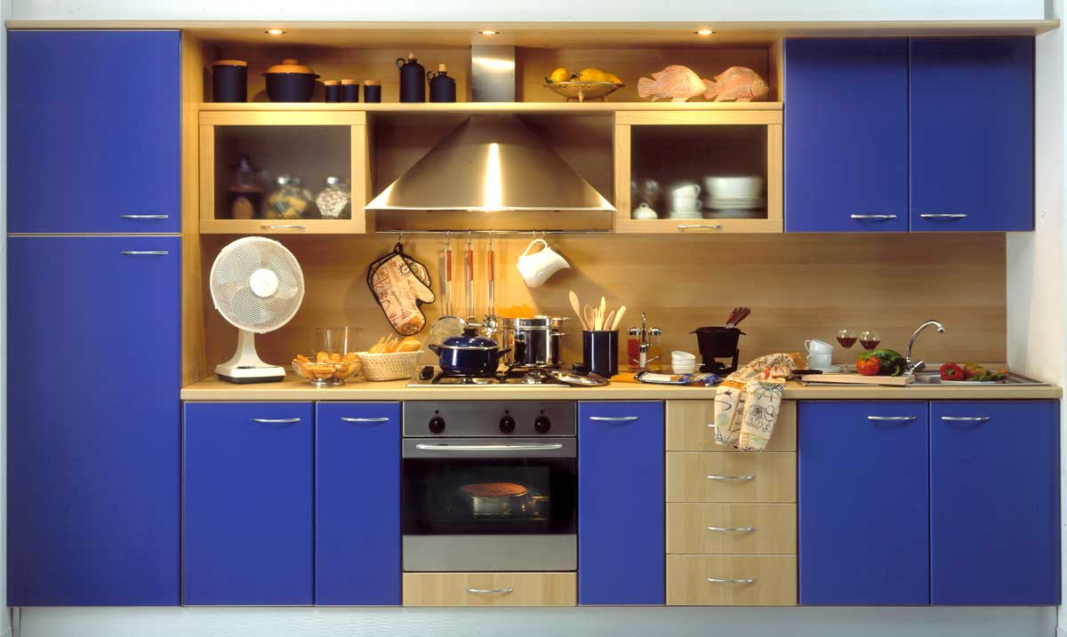 Cool Blue Straight Modular Kitchen