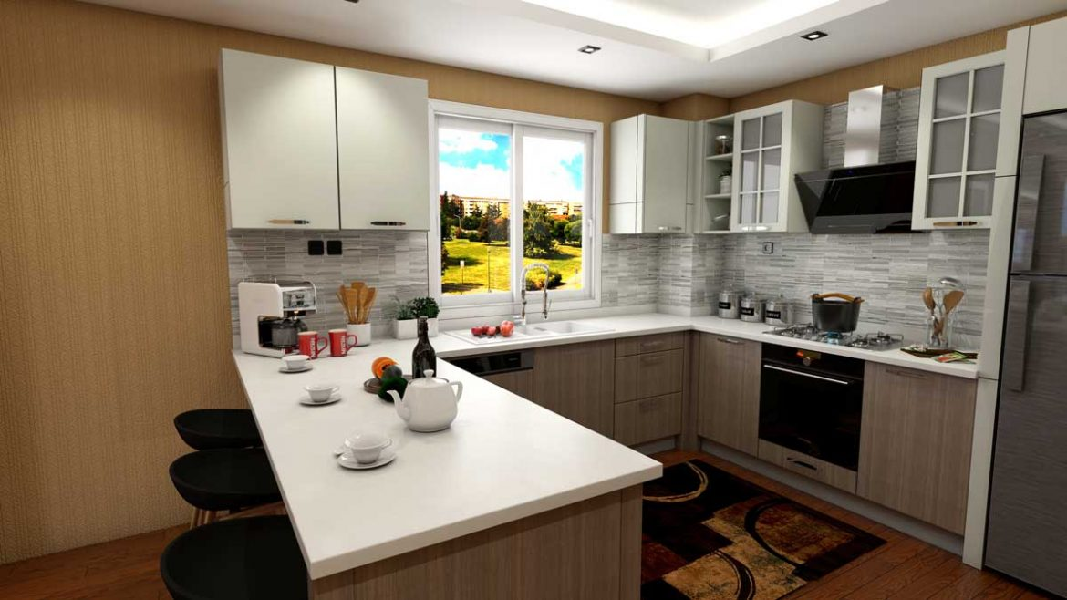 Cream Brown U Shape Modern Kitchen With Appliances