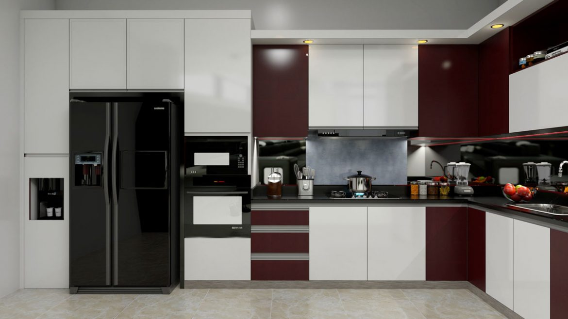 Dark Brown L Shape Modular Kitchen With Appliances