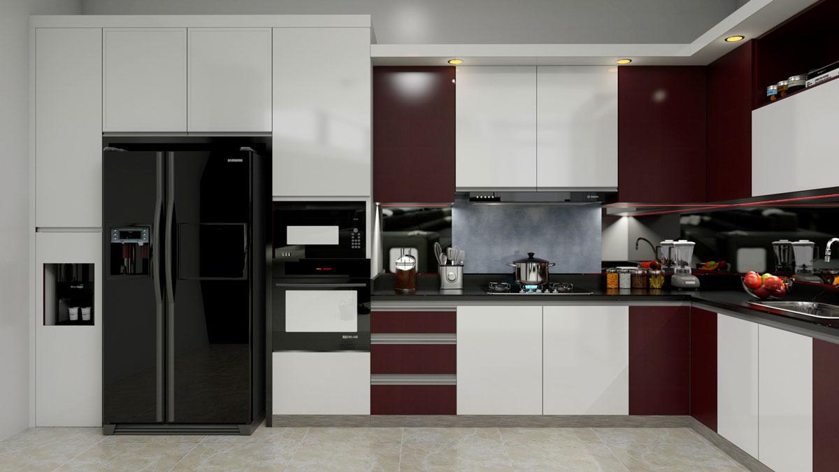 Dark Brown L Shape Modular Kitchen With Appliances