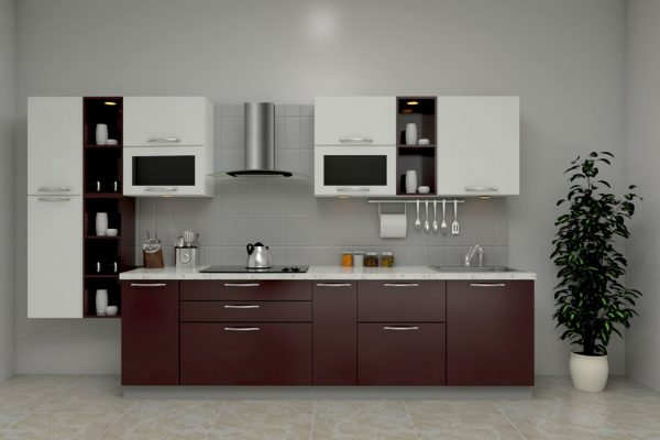 Dark Brown Straight Kitchen With Chimney