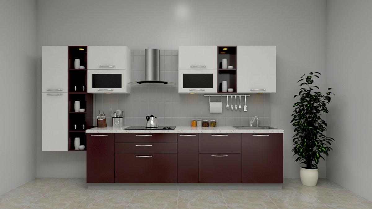 Dark Brown Straight Kitchen With Chimney