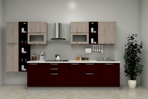 Dark Brown Straight Modern Kitchen