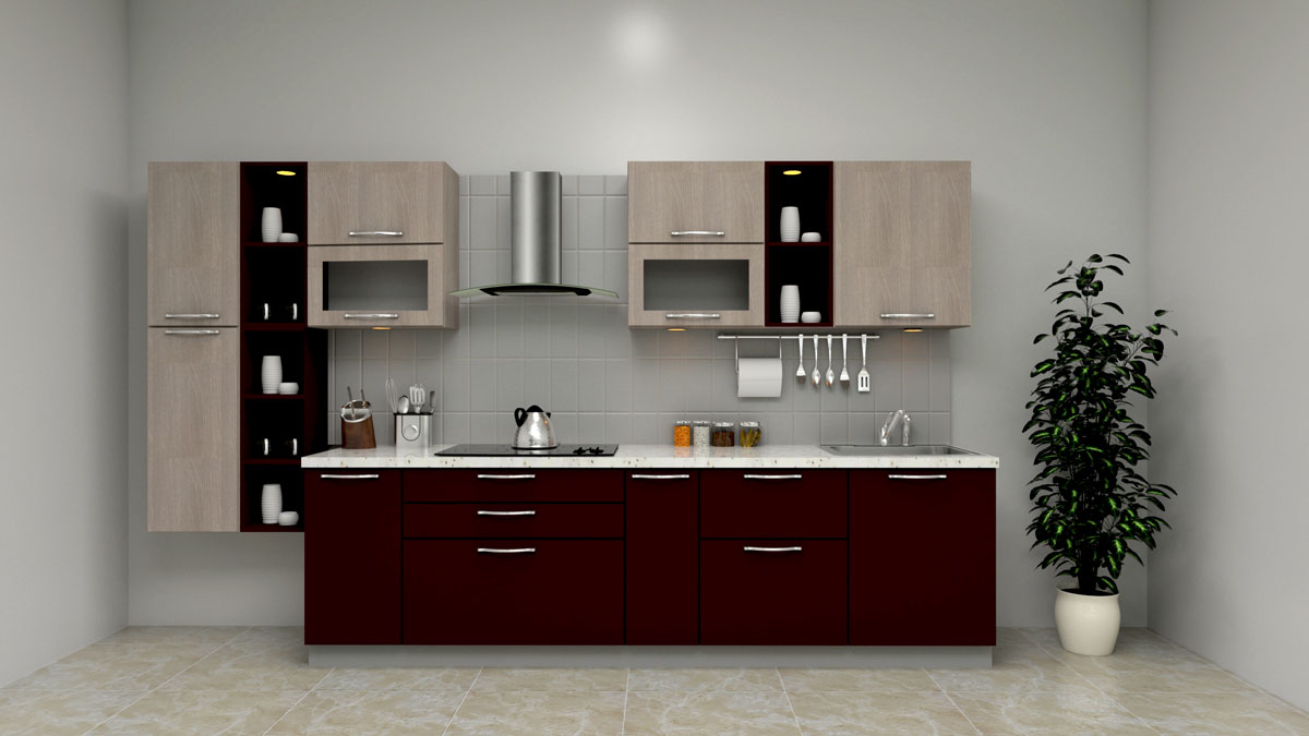 Dark Brown Straight Modern Kitchen