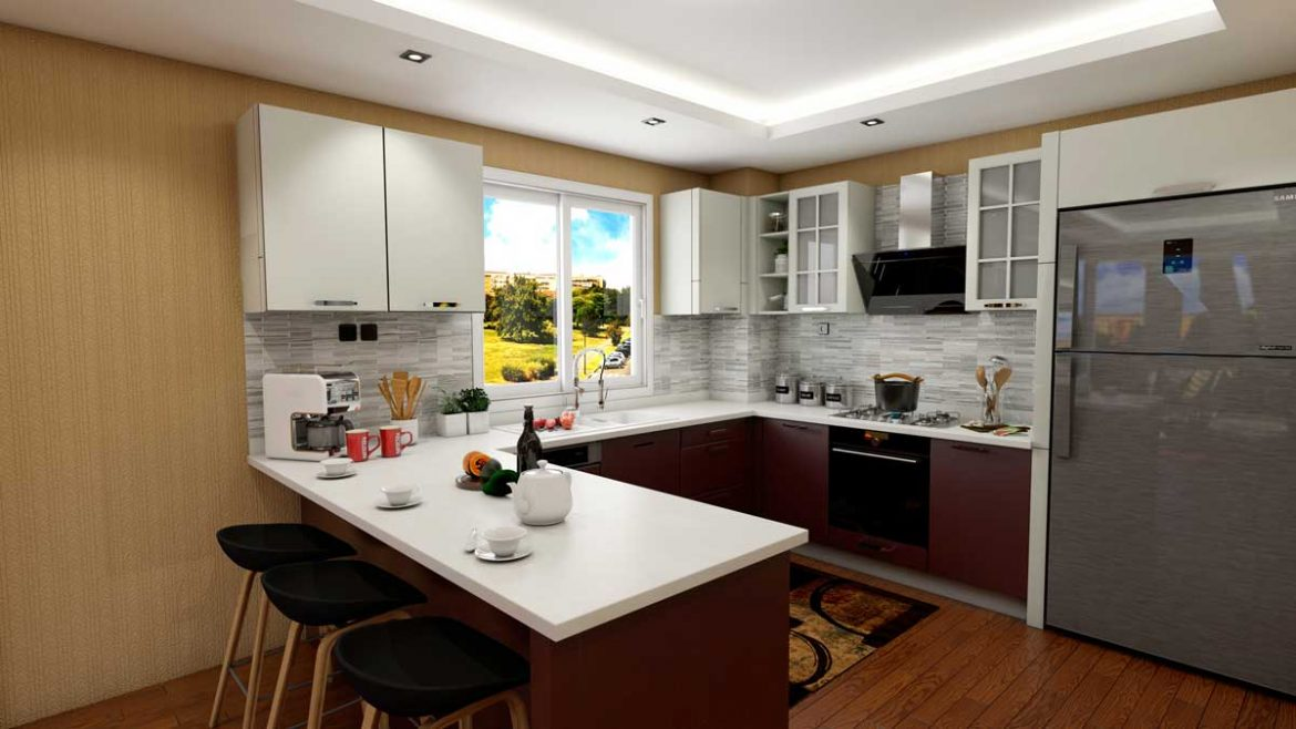 Dark Brown U Shape Modern Kitchen With Appliances