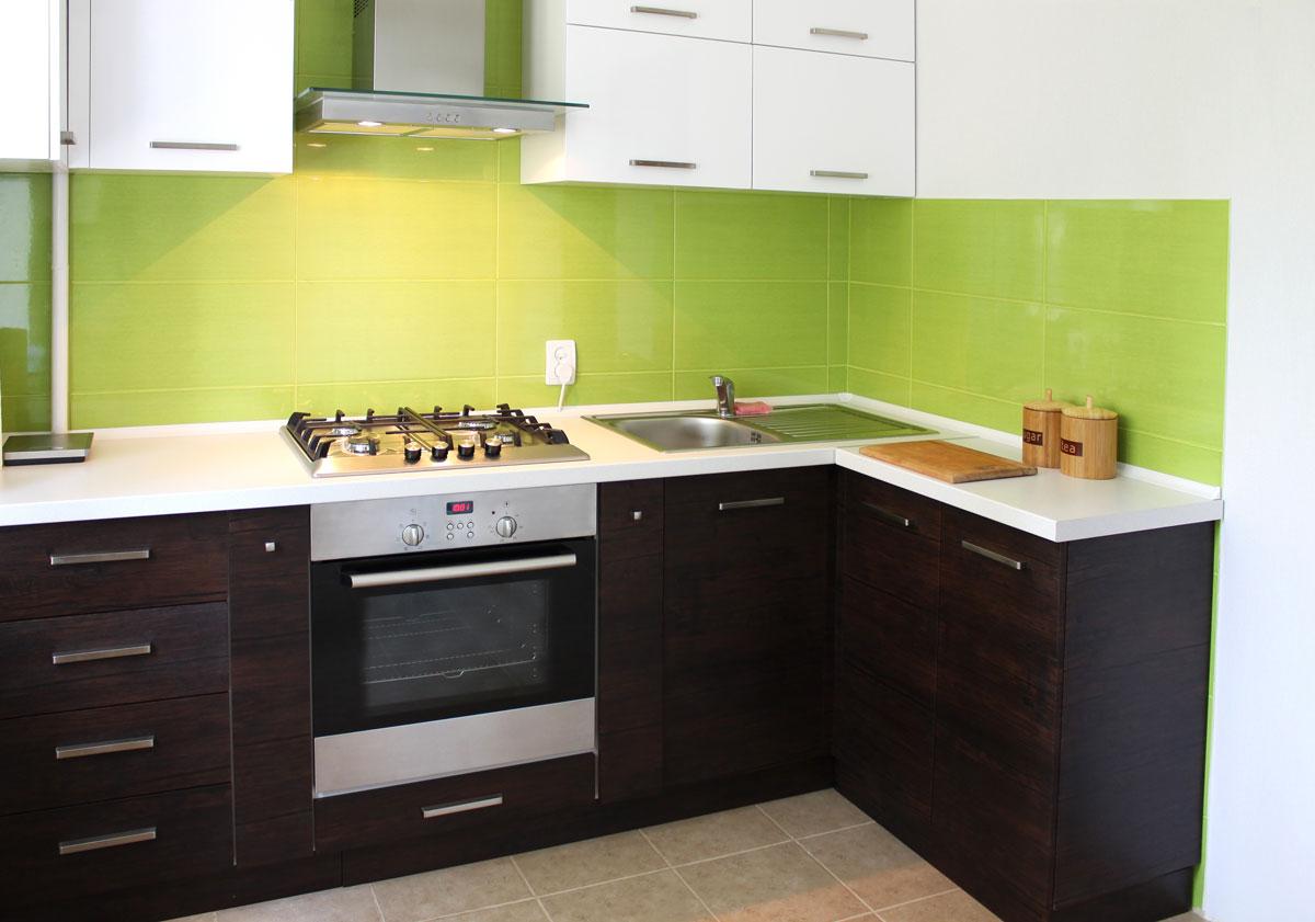 Dark Brown With Handle L Shape Kitchen Cabinet