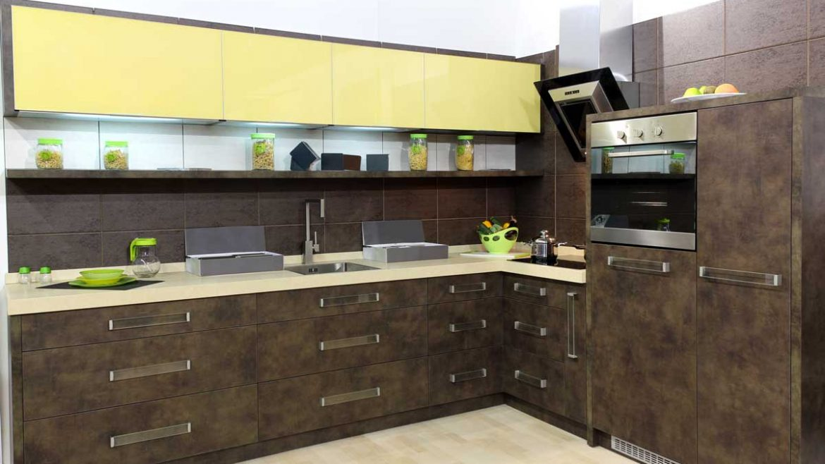 Designer Brown L Shape Modular Kitchen
