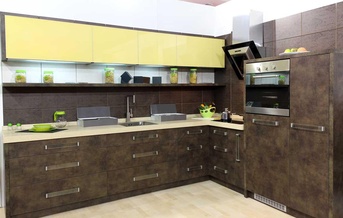 Designer Brown L Shape Modular Kitchen