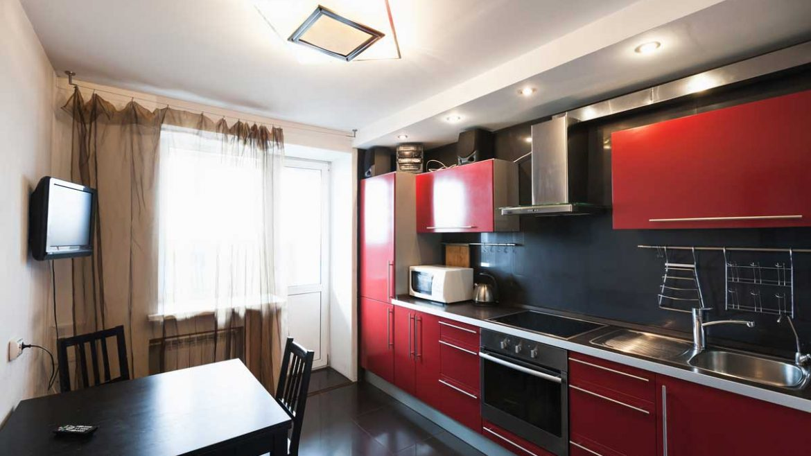 Energetic Red Straight Modular Kitchen