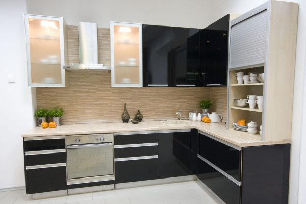 Gloss Black L Shape Kitchen Cabinet