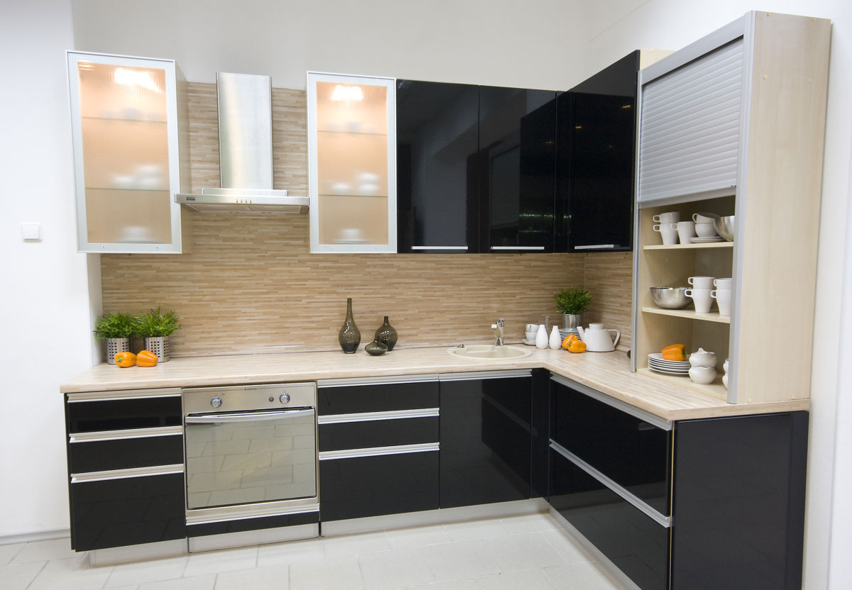 Gloss Black L Shape Kitchen Cabinet