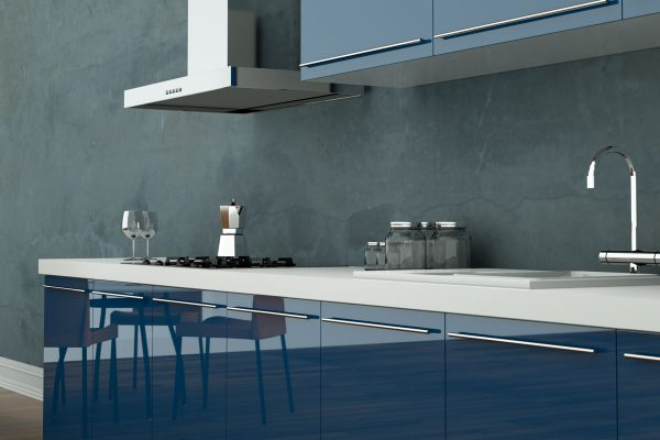 Gloss Blue Modular Kitchen With Modern Appliances