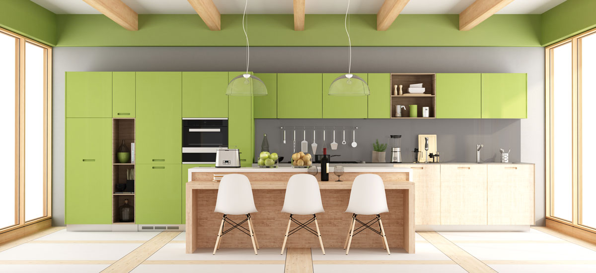 Gloss Lime Green Island Kitchen