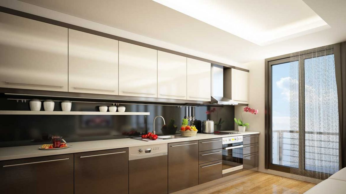 Glossy Brown Straight Modular Kitchen