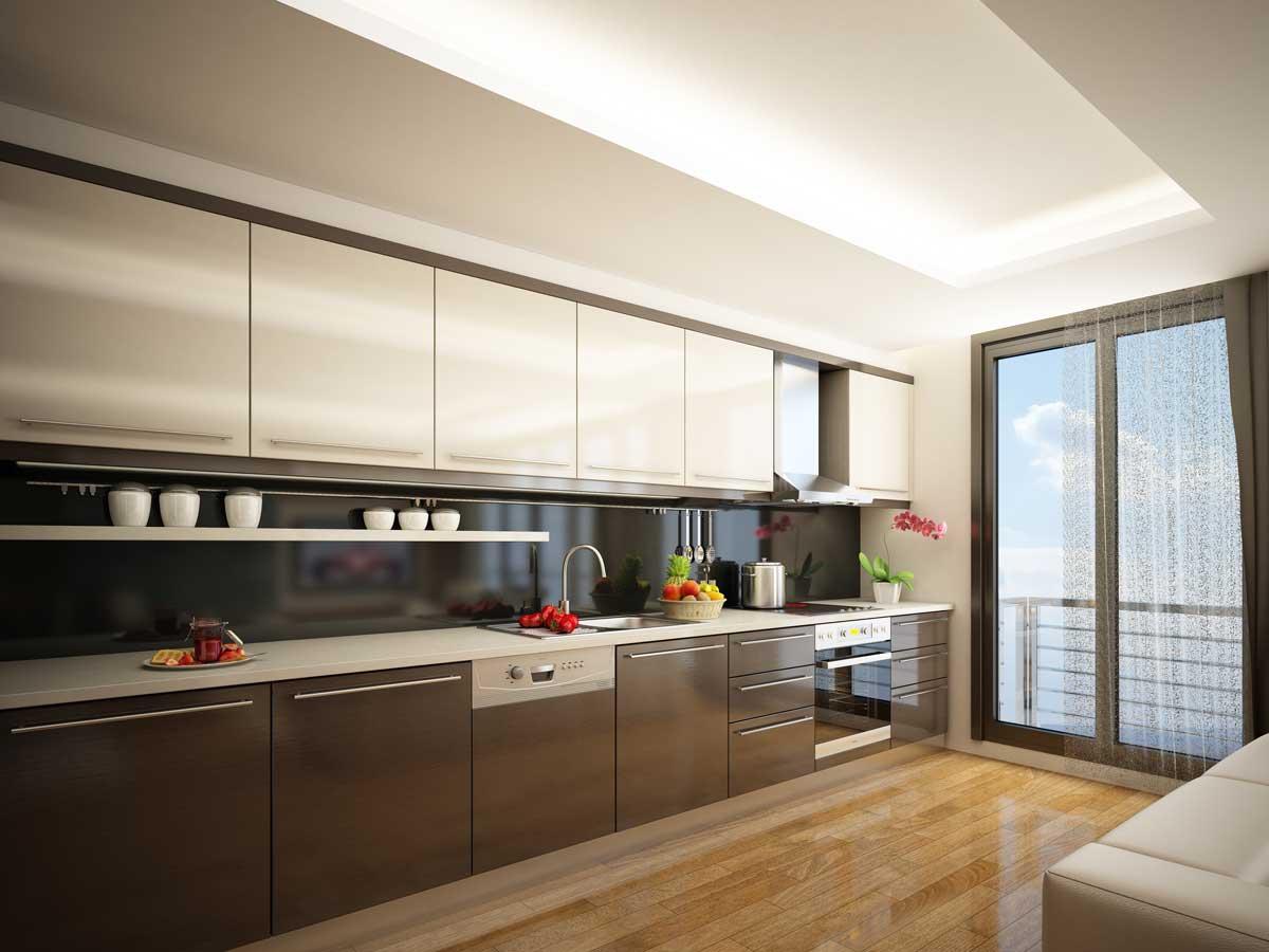 Glossy Brown Straight Modular Kitchen