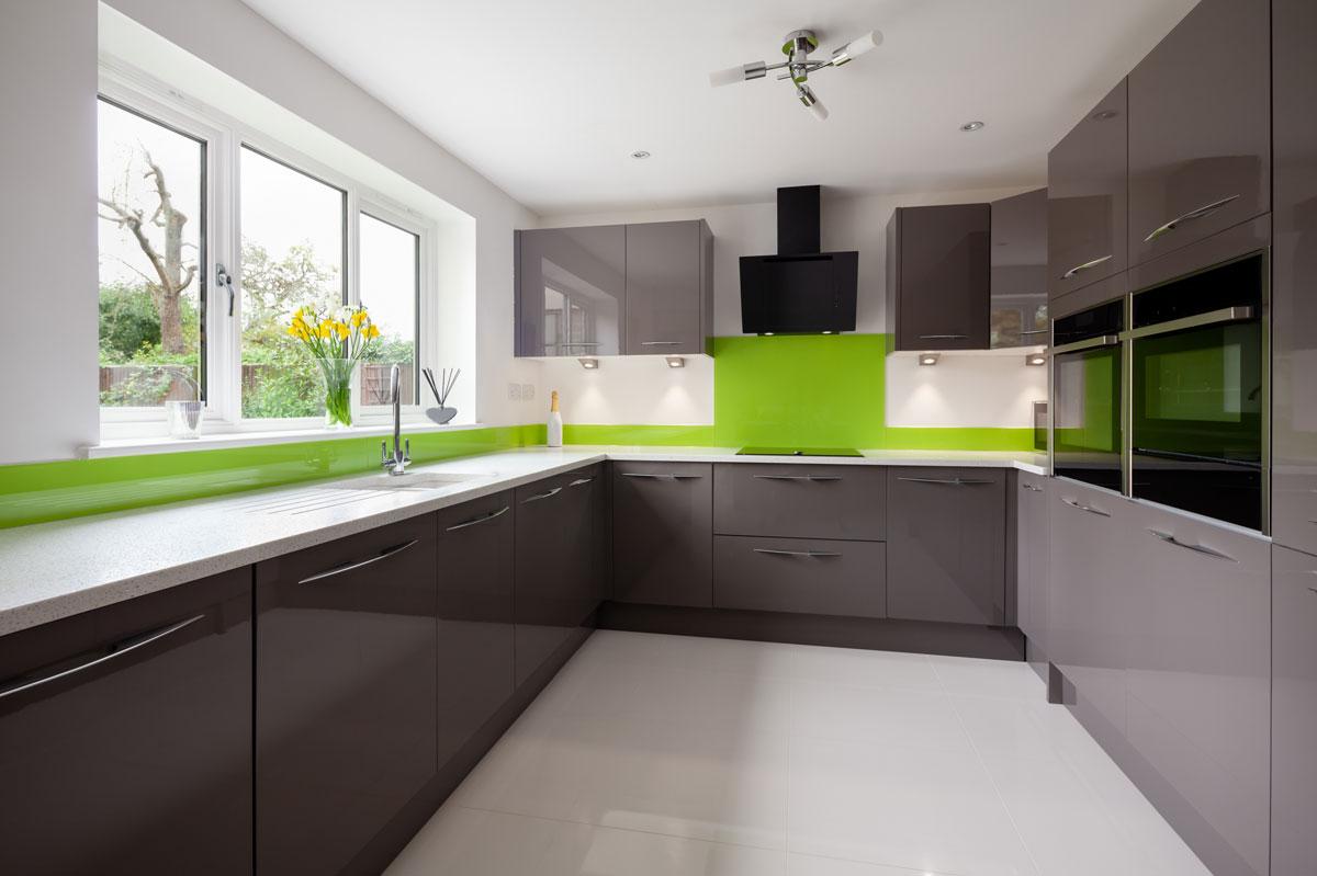 Glossy Gray U Shape Modular Kitchen