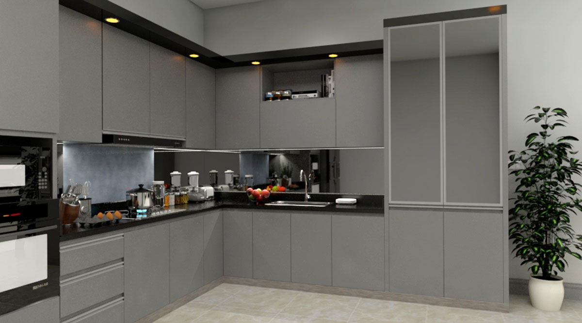 Gray L Shape Modular Kitchen With Appliances