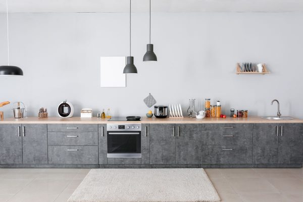 Gray Straight Modern Kitchen