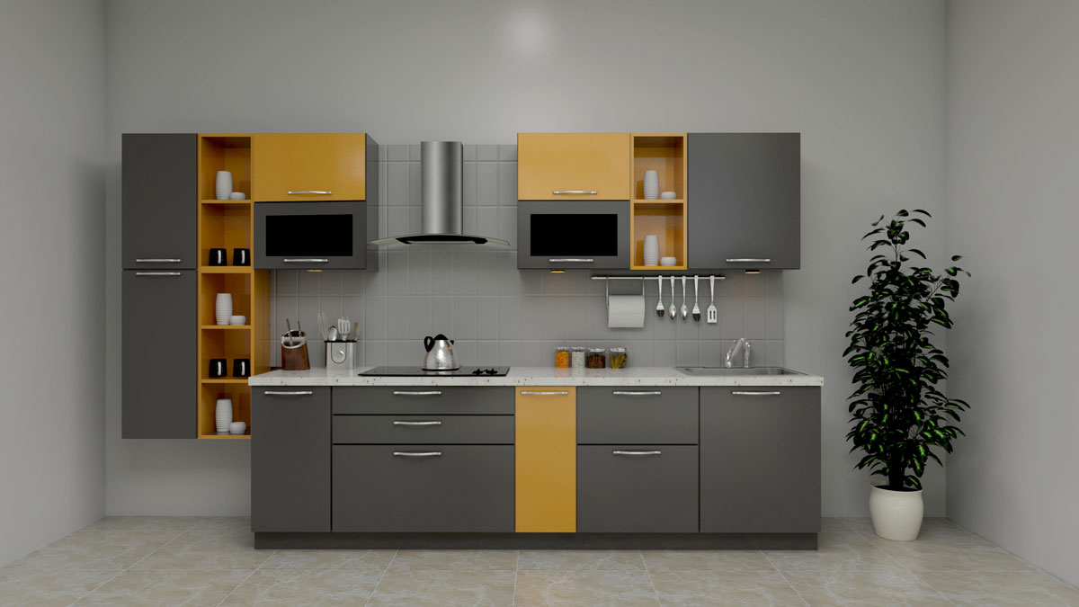 Gray Straight Modular Kitchen With Chimney