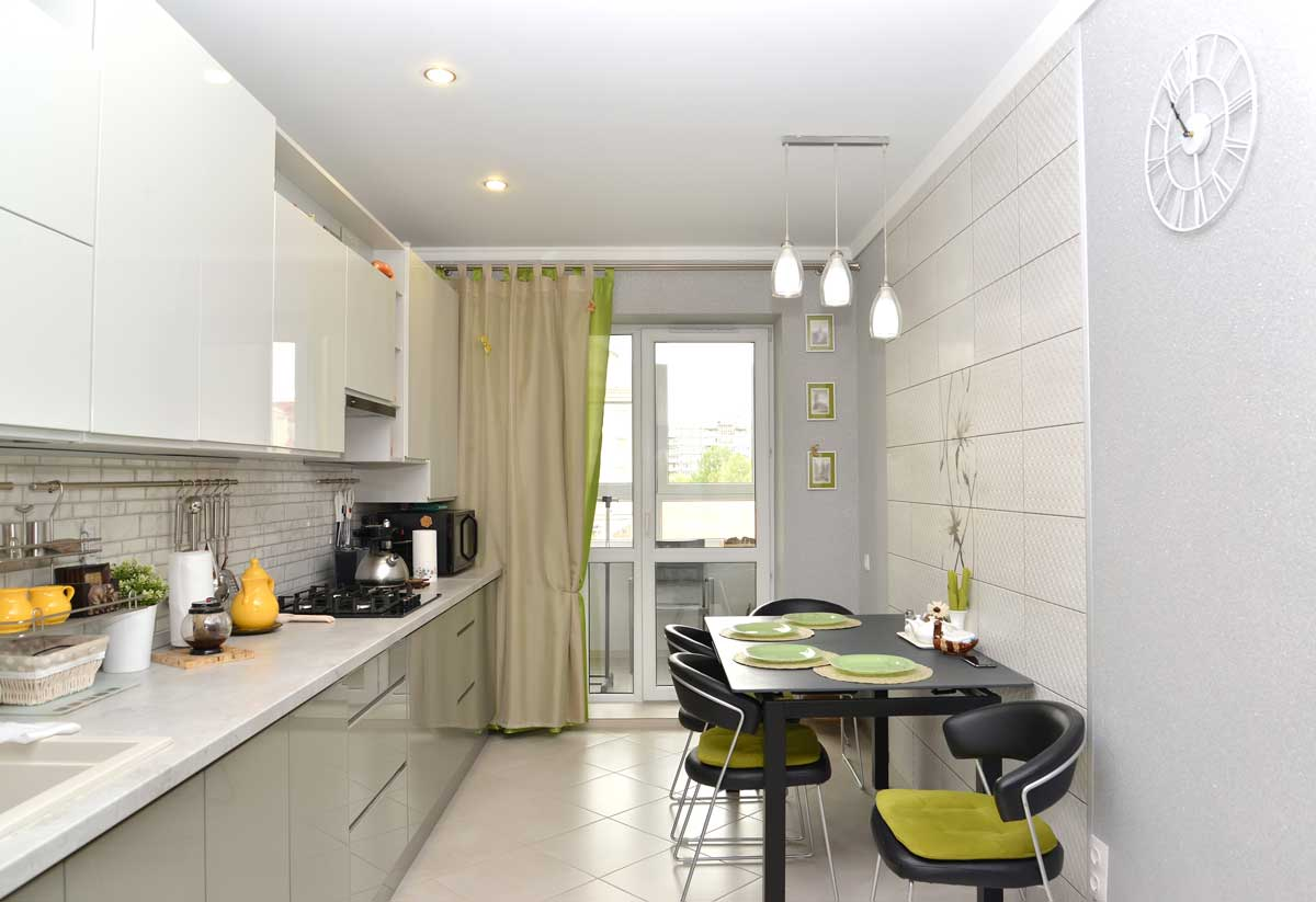 Gray Straight Modular Kitchen