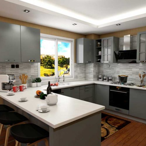 Gray-U-Shape-Modern-Kitchen-With-Appliances