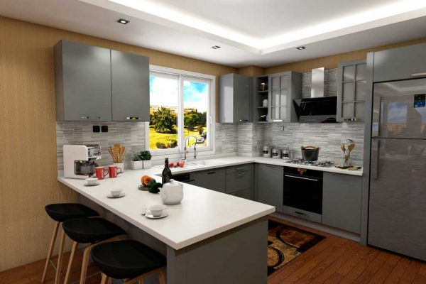 Gray U Shape Modern Kitchen With Appliances