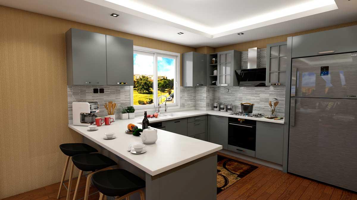 Gray U Shape Modern Kitchen With Appliances