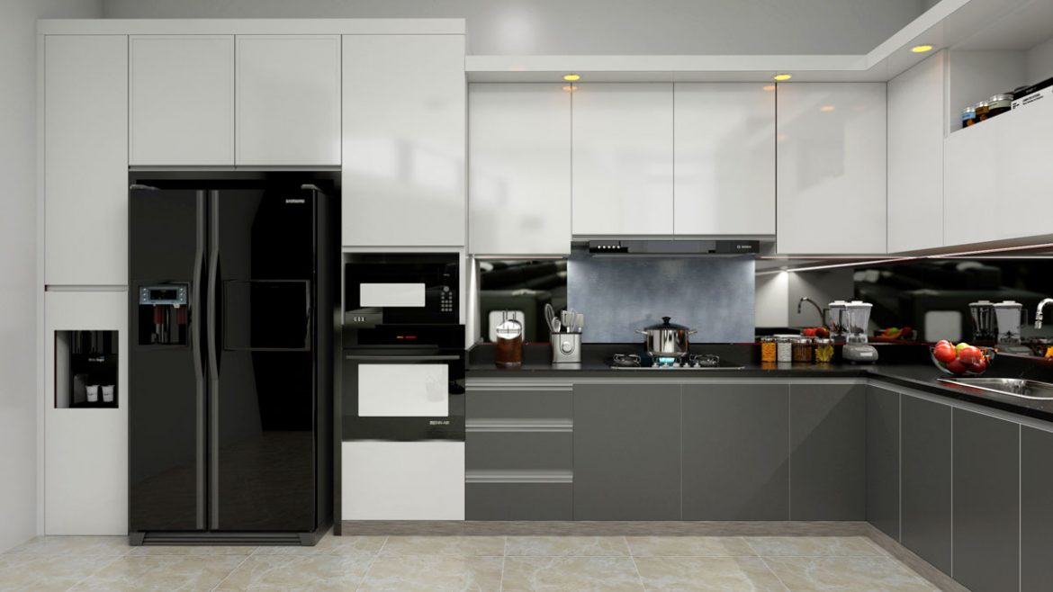 Gray White L Shape Modular Kitchen